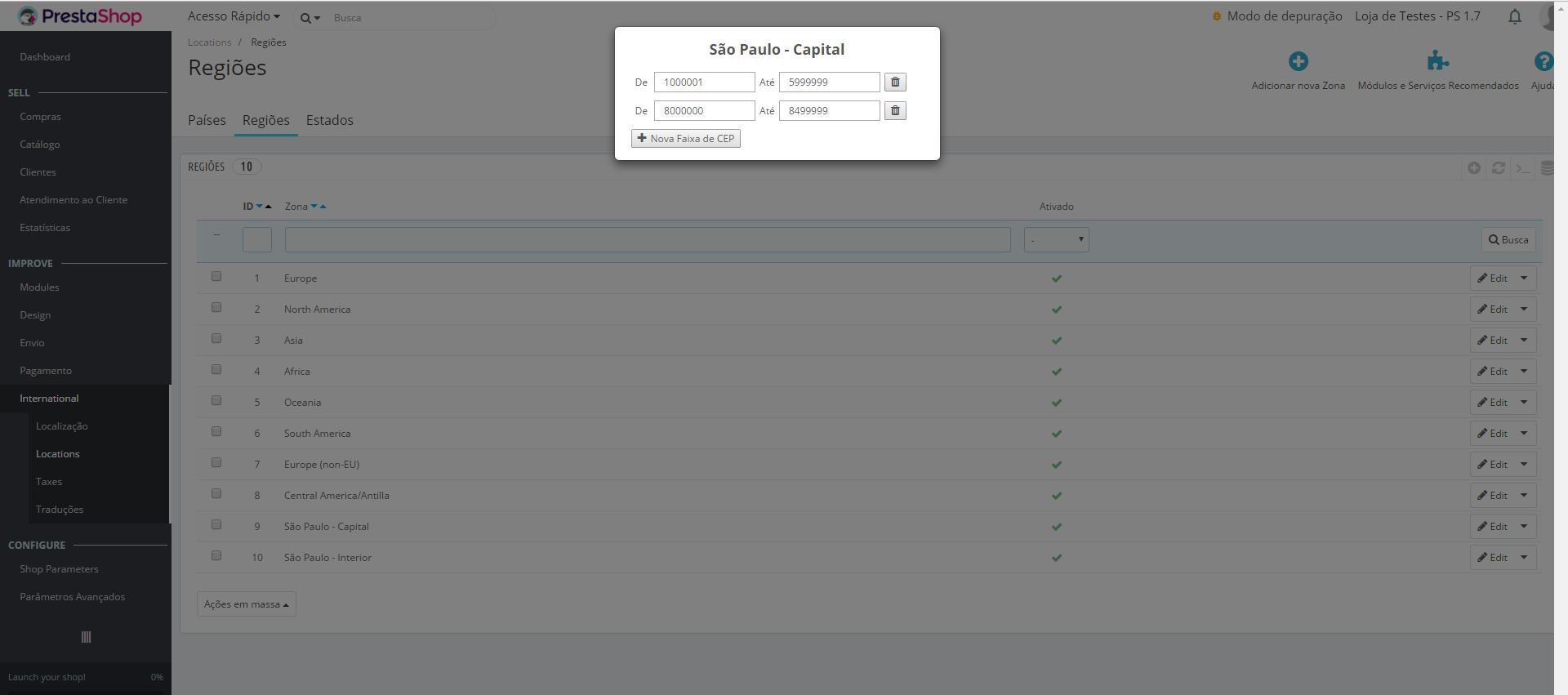 Módulo para Controle de Regiões por Faixas de CEP para PrestaShop
